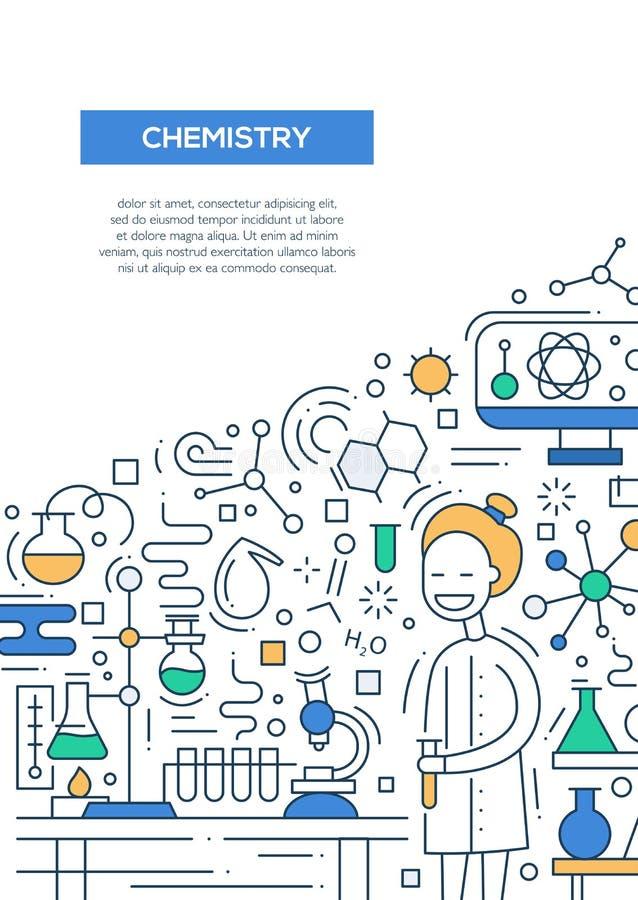 Line Art Poster Design : Chemistry line design brochure poster template a stock