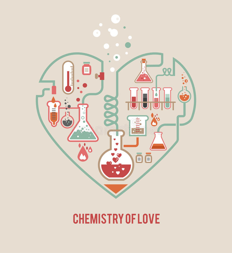 Chemistry of Love. Vector background, Valentines day card vector illustration