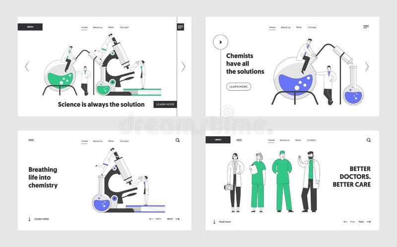 Chemistry and Medicine Website Landing Page Set. Scientists Conducting Experiments in Science Laboratory. Doctors Staff. In White Robes Web Page Banner. Cartoon stock illustration