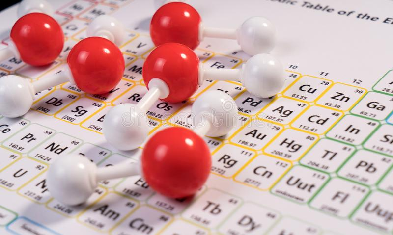 Chemistry model atom of molecule water scientific elements on periodic table of the elements. stock images