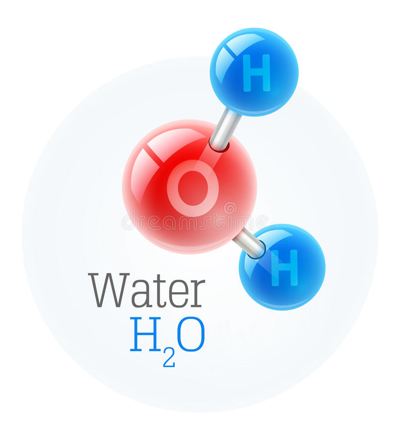 Chemistry model of molecule water scientific elements. Integrated particles hydrogen and oxygen. Vector illustration. On white background royalty free illustration