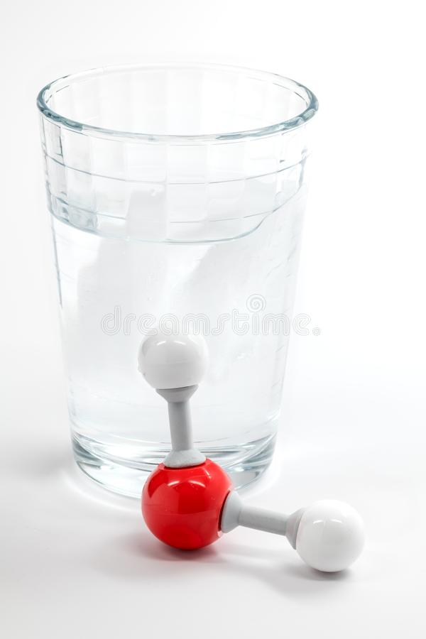 Chemistry molecule for water with a glass and ice stock photos