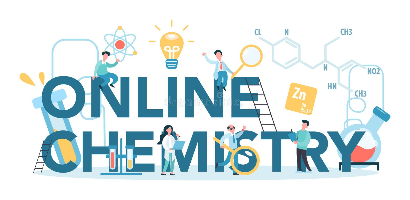 Chemistry Online Studying Typographic Concept. Online Course Stock Vector - Illustration of online, object: 179858324