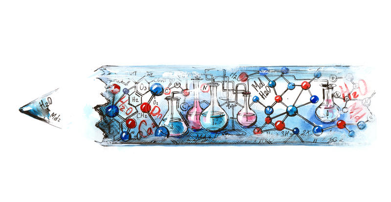 Chemistry. Pencil with the plot of a school subject vector illustration
