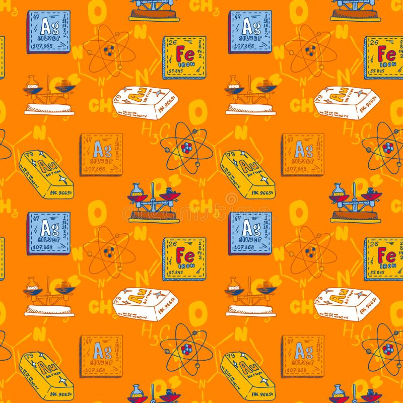 Chemistry periodic substance seamless pattern, hand drawn style stock illustration