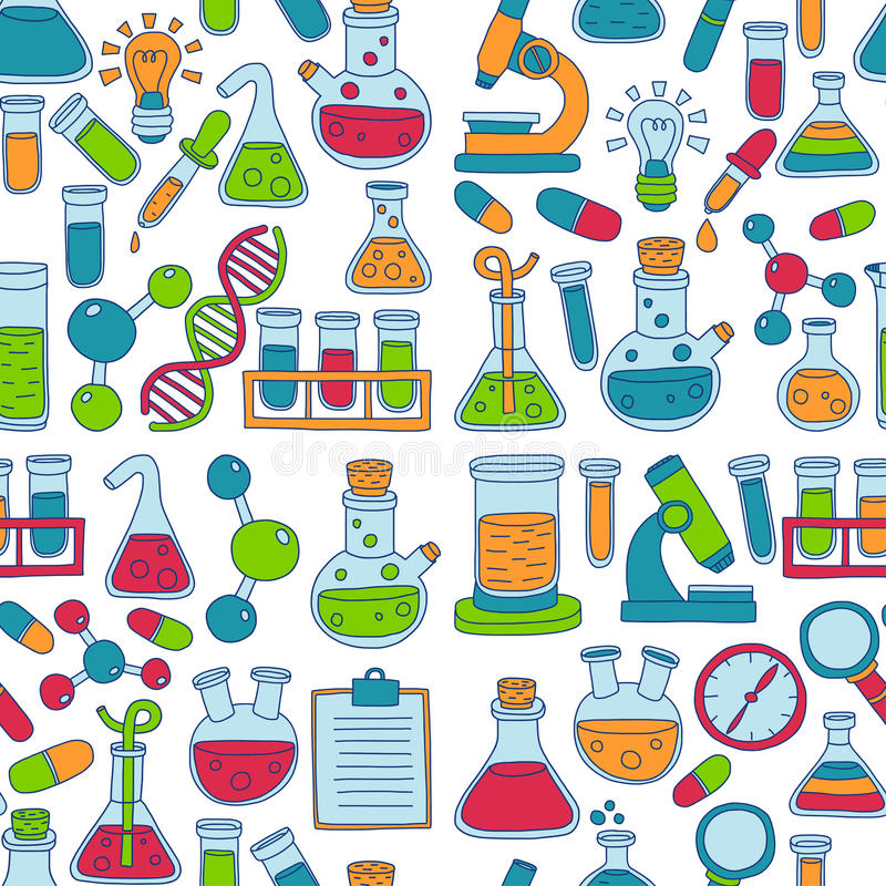 Chemistry Pharmacology Natural sciences Vector doodle set. Hand drawn images stock illustration