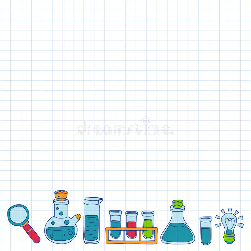 Chemistry Pharmacology Natural sciences Vector doodle set. Hand drawn images royalty free illustration