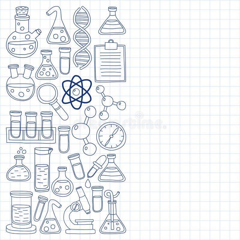 Chemistry Pharmacology Natural sciences Vector doodle set. Hand drawn images vector illustration