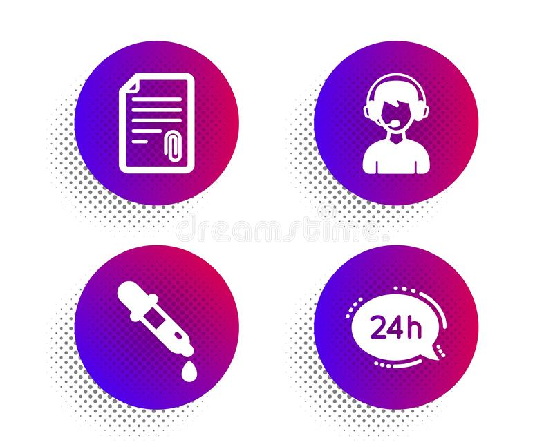 Chemistry pipette, Consultant and Attachment icons set. 24h service sign. Laboratory, Call center, Attach file. Vector vector illustration