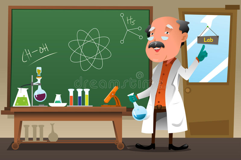 People Think That Computer Science Is The Art Of Geniuses: Chemistry Professor Working At The Lab Stock Vector