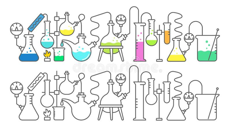Chemistry science. Education lab. Bright colored chemicals substances. Laboratory research experiments. Medical tests royalty free illustration