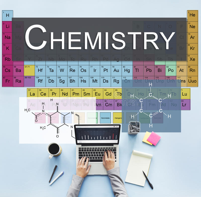 Chemistry Science Experiment Formula Concept stock images