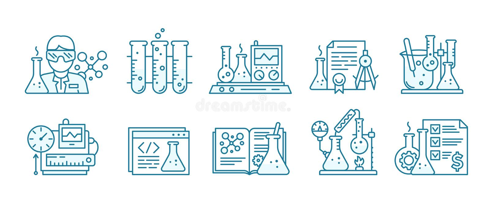 Chemistry science icon set. Education lab background. The production of chemicals kit. Laboratory research experiments. Chemistry science icon set. Education lab royalty free illustration