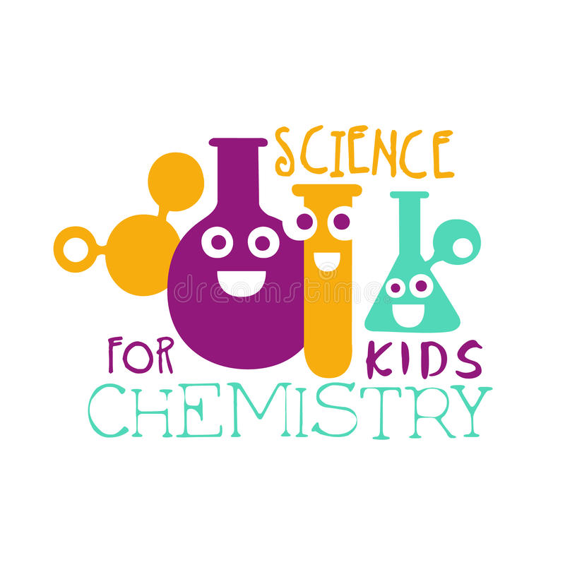 Chemistry science for kids logo symbol. Colorful hand drawn label royalty free illustration