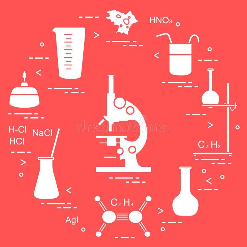 Chemistry scientific, education elements: microscope, flasks, tripod, formulas, beaker, burner, amoeba, measuring cup. Design for royalty free illustration