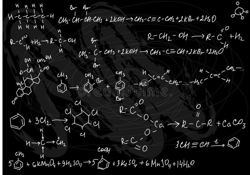 Chemistry seamless. Vector illustration of seamless chemistry formulas on the black slate background royalty free illustration