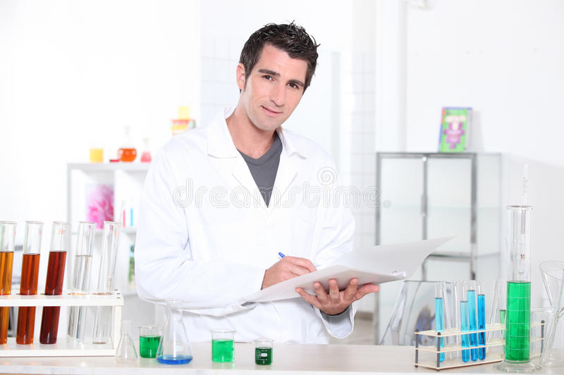 Chemistry student stock images