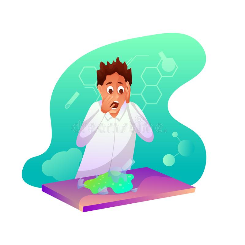 Chemistry student flat character stock illustration