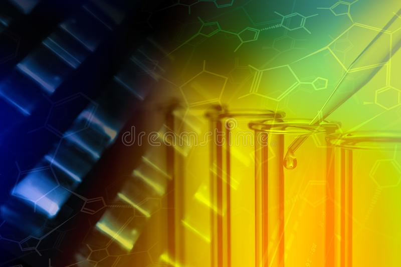 Chemistry test tubes and DNA analysis with structural chemistry. Formula - research or science concept background royalty free stock photography