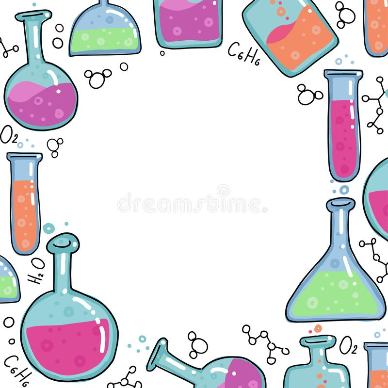 Chemistry Test tubes vector outlined sketch round frame. Kids Education illustration in thin line color doodle style. Set of Hand royalty free illustration