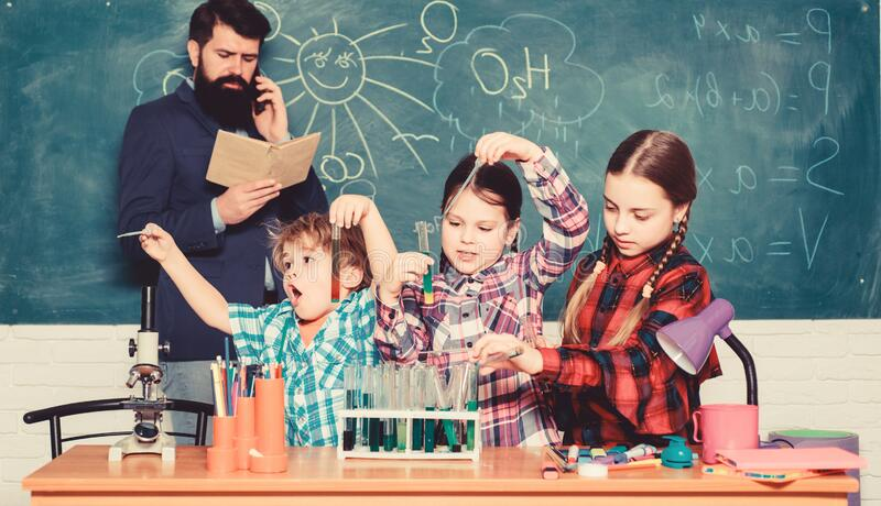 Chemistry themed club. Promote scientific interests. Topic of our club. Group interaction and communication. Elementary. School clubs list and themes. Practical royalty free stock image