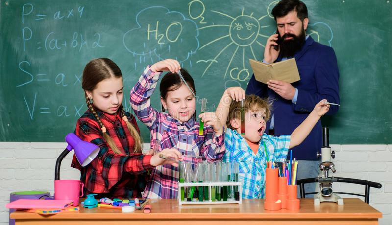 Chemistry themed club. Promote scientific interests. Topic of our club. Group interaction and communication. Elementary stock image