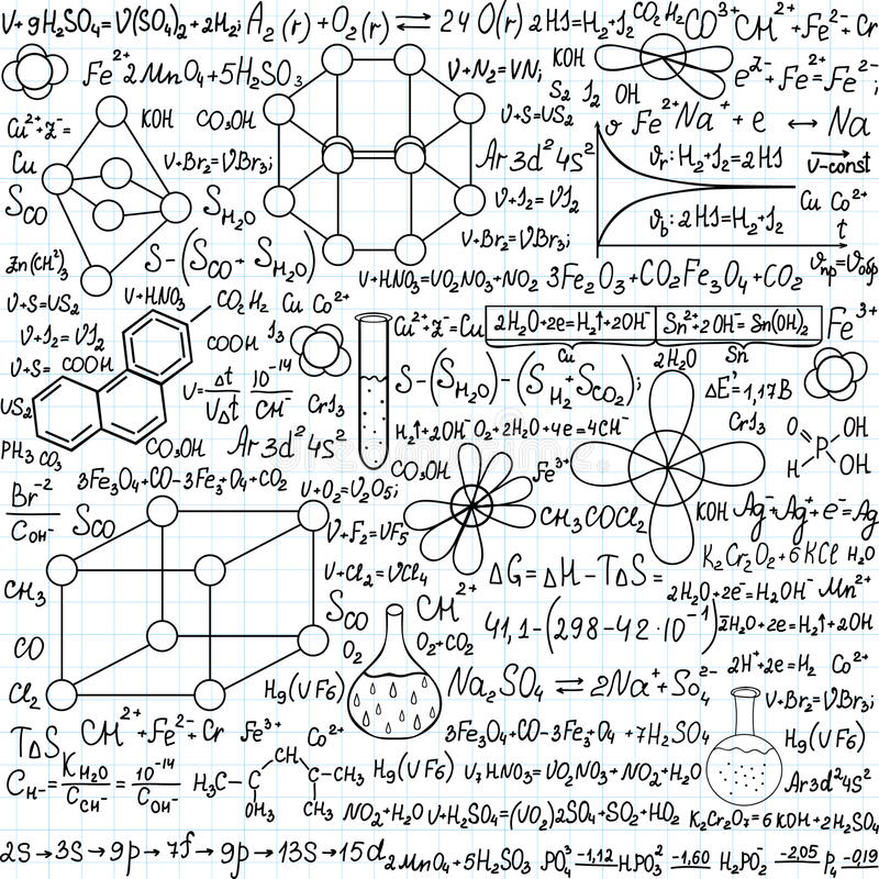 Chemistry vector seamless pattern with plots, formulas and laboratory equipment, handwritten on the copybook paper. Scientific background. Endless texture royalty free illustration