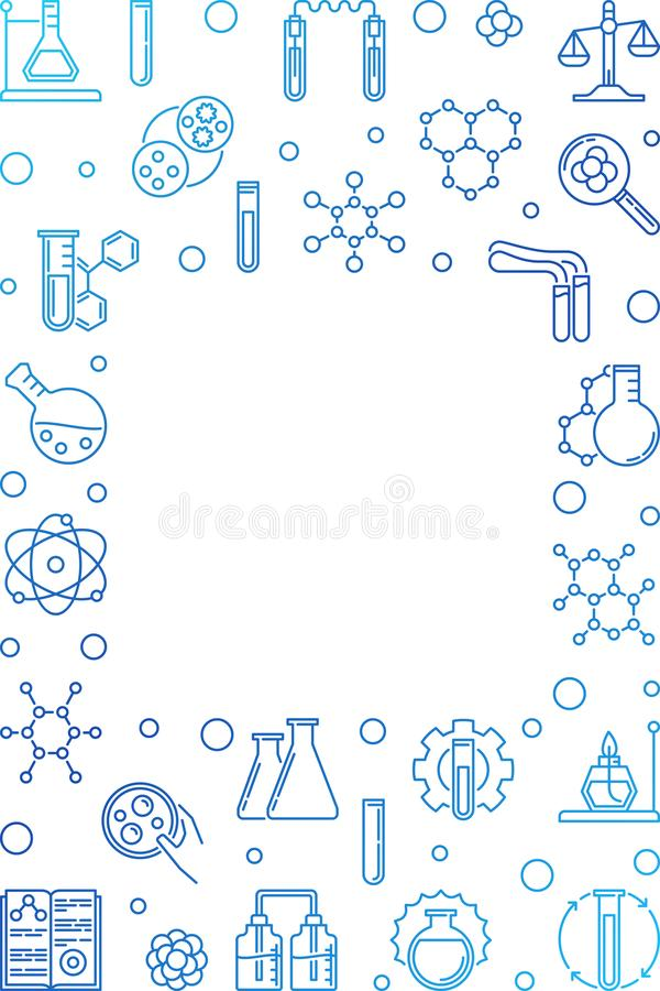 Chemistry vertical blue vector line frame. Chemical background. Chemistry vertical blue vector frame in thin line style. Chemical concept background with empty stock illustration