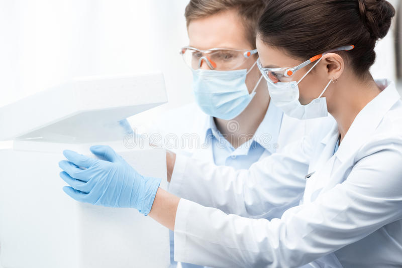 Chemists in protective workwear making experiment with liquid nitrogen. Young professional chemists in protective workwear making experiment with liquid nitrogen royalty free stock images