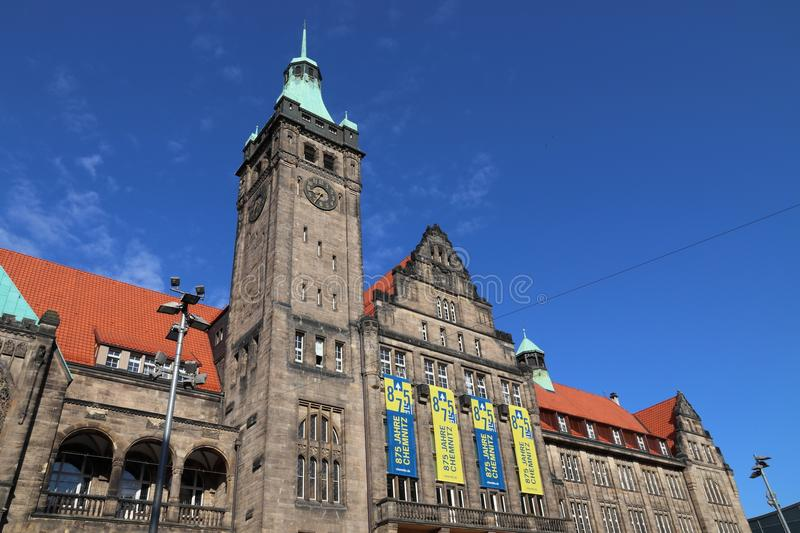 Chemnitz, Germany. MAY 9, 2018: New Town Hall (Neues Rathaus) in . Chemnitz is the 3rd-largest city in the Free State of Saxony (Germany royalty free stock photo