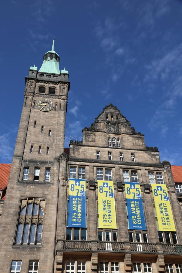 Chemnitz, Germany. MAY 9, 2018: New Town Hall (Neues Rathaus) in . Chemnitz is the 3rd-largest city in the Free State of Saxony (Germany stock image