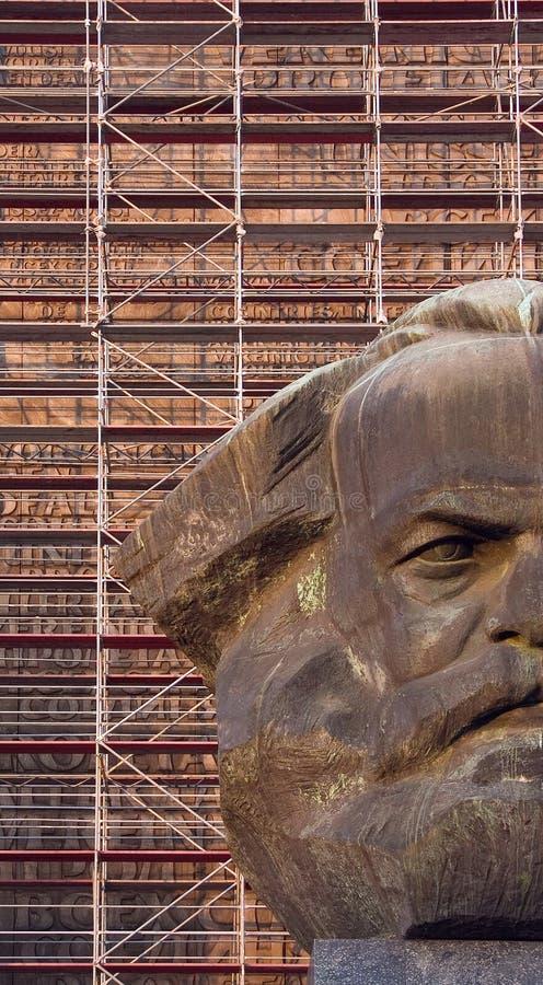 Chemnitz Karl Marx monumento pista Kerbel fotografía de archivo