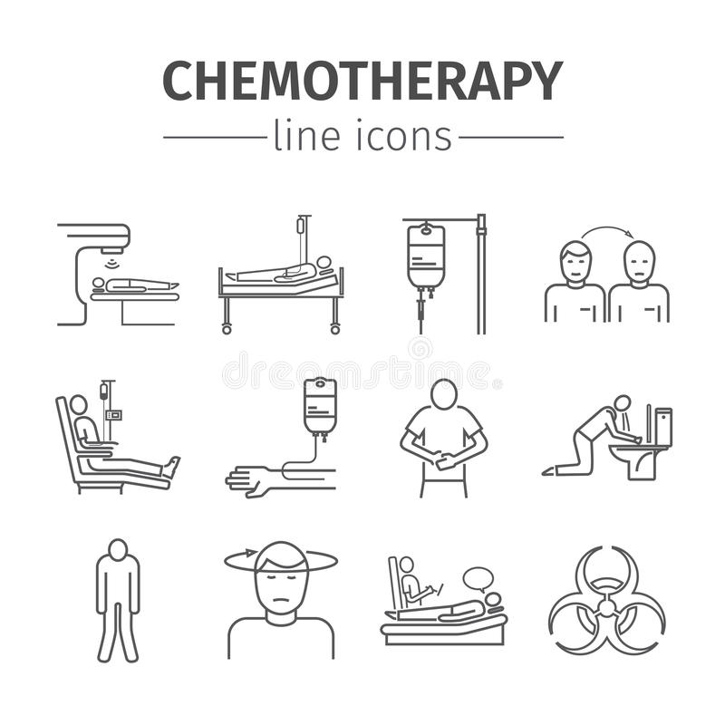 Chemotherapy Line Icons Set Stock Vector Illustration Of