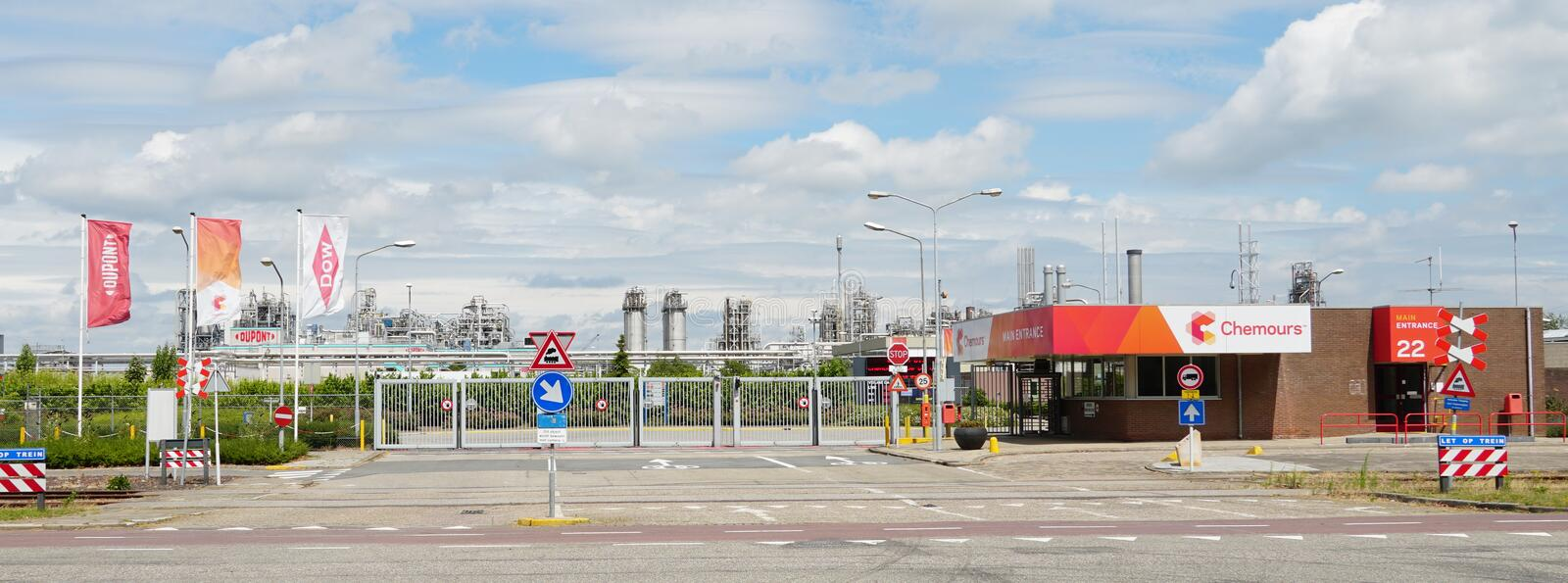 Chemours DuPont chemical company in Dordrecht, the Netherlands. Dordrecht, the Netherlands. July 2019. Entrance to Chemours DuPont chemical factory stock photography