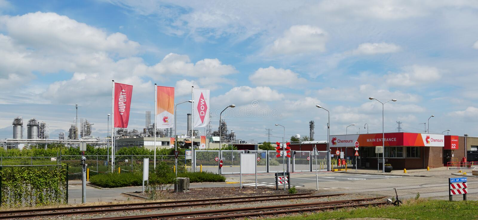 Chemours DuPont chemical company in Dordrecht, the Netherlands. Dordrecht, the Netherlands. July 2019. Entrance to Chemours DuPont chemical factory stock photos