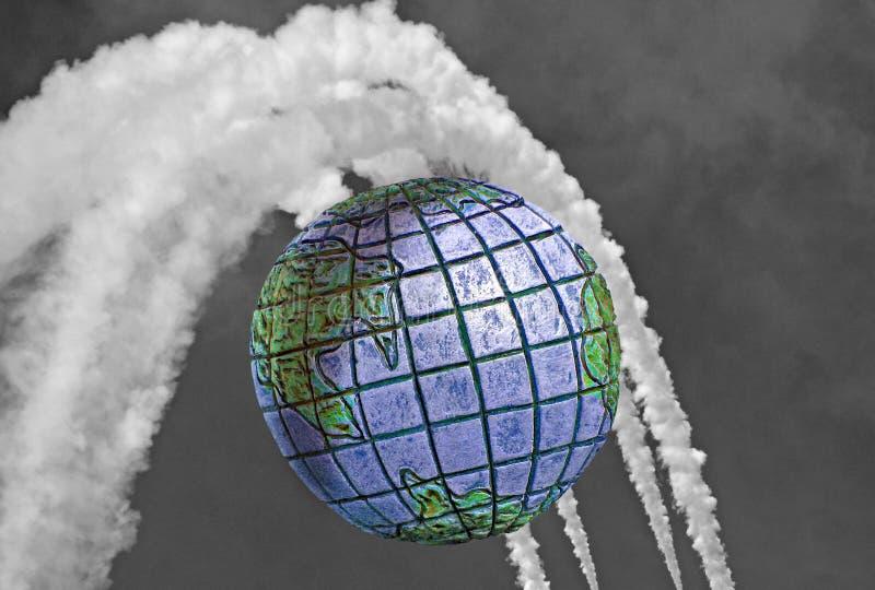 Chemtrails zanieczyszczenia globalny niebezpieczeństwo ilustracja wektor