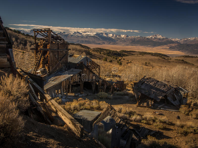 Chemung Mine in Color. The Chemung Mine is in the high desert near Bridgeport, California. It is rumored that this mine is haunted. Most of the activity occurs royalty free stock photos