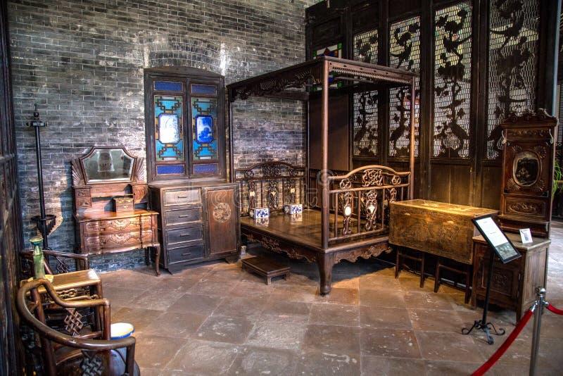 Chen Clan Academy dentro do material velho restaurado, área Ming de Guangzhou e de família de Qing Dynasties quarto geral, e todo imagens de stock royalty free