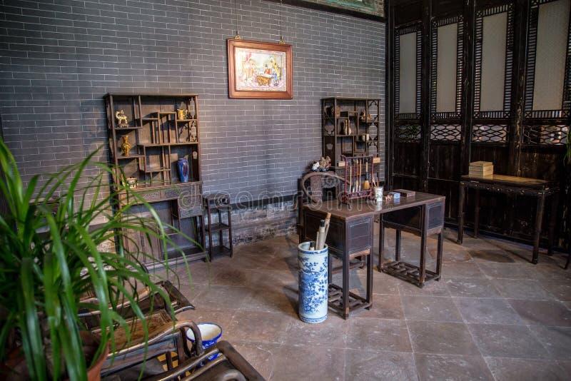 Chen Clan Academy dentro il vecchio materiale per ristabilire, regione di Canton, sala di lettura generale della famiglia di Qing fotografie stock libere da diritti