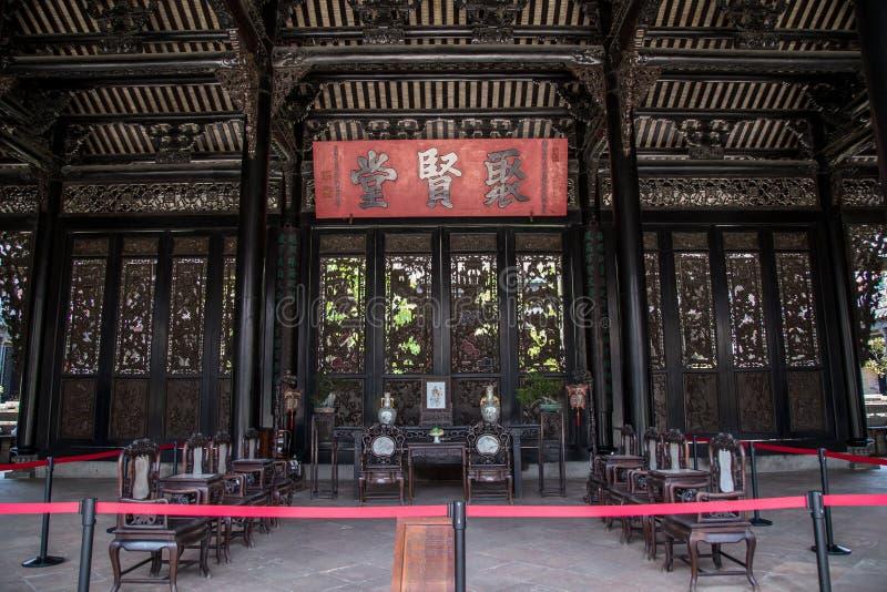 Chen Clan Academy en berömd turist- dragning i Guangdong, Kina, är den arkitektoniska strukturen av andra korridorer arkivbild