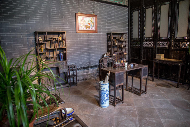 Chen Clan Academy inom det gamla materialet som läs- rum återställer, den Guangzhou regionen, Ming och Qing Dynasties för den all royaltyfria foton
