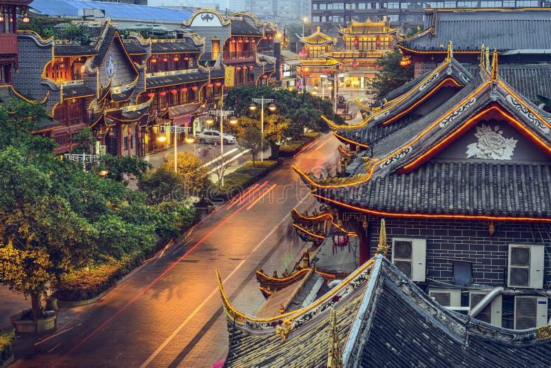 Chengdu, China bij Qintai-Straat stock afbeelding