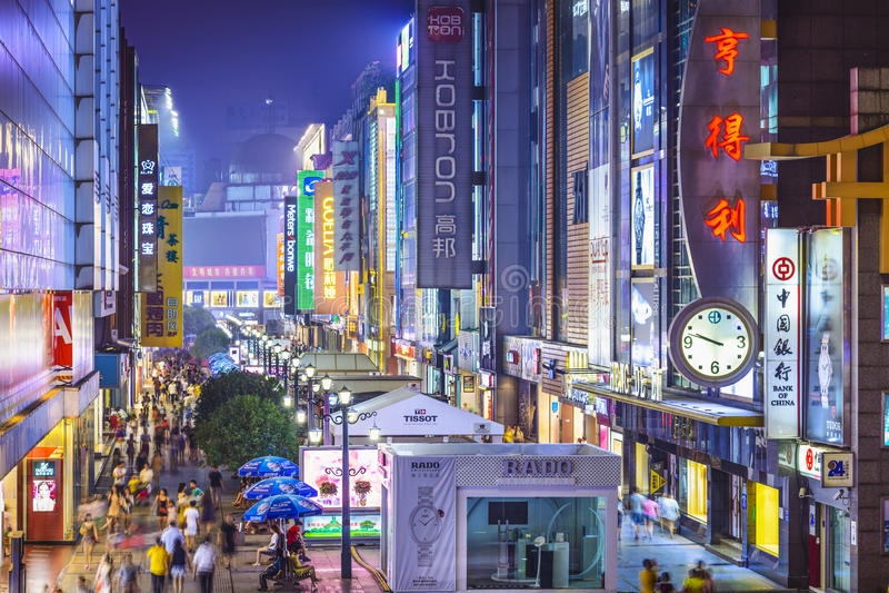 Chengdu, China at Chunxi Street. CHENGDU, CHINA - JUNE 2, 2014: Chunxi Street at night. With a history of 85 years, Chunxilu is the most famous commercial stock photo