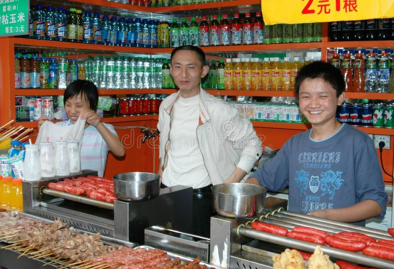 Chengdu, China: De Verkopers van het voedsel royalty-vrije stock fotografie