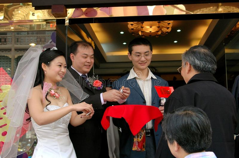 Chengdu, China: Hochzeitsfest-Willkommen lizenzfreie stockbilder