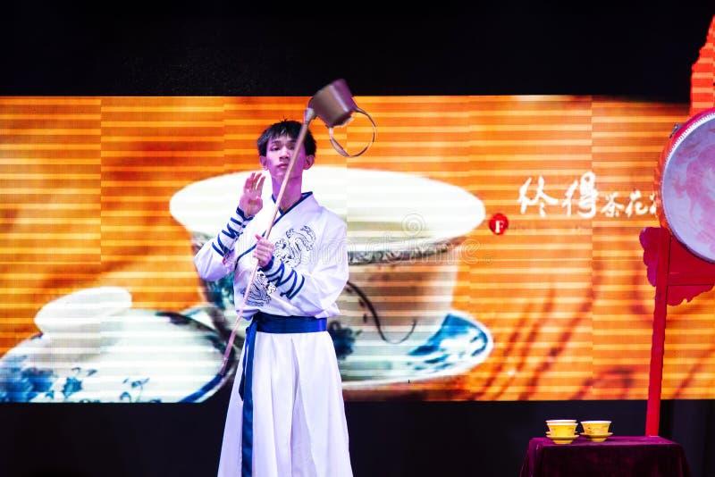 Chengdu, China - July 26, 2019: Artisan tea ceremony performance at Chinese opera house in Chengdu, Sichuan province of China stock photo