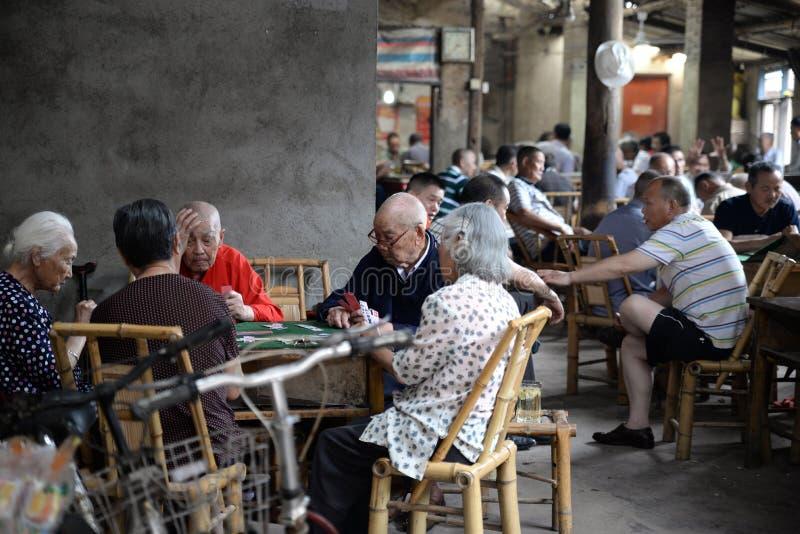 Chengdu, China: Seniors Playing Cards at Teahouse stock images