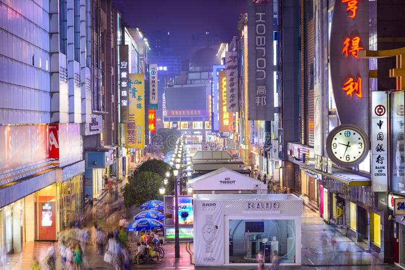 Chengdu, China Shopping District. CHENGDU, CHINA - JUNE 2, 2014: Chunxi Street at night. With a history of 85 years, Chunxilu is the most famous commercial royalty free stock photos