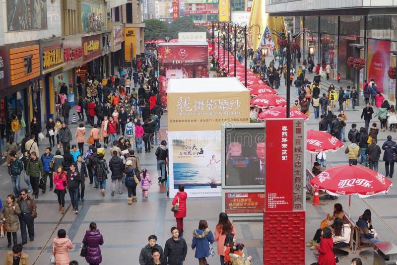 Chengdu.chunxi street. Chinese famous business walking street royalty free stock photography