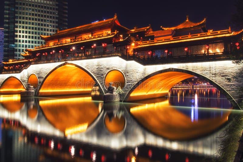Chengdu, Cina su Jin River immagine stock libera da diritti
